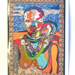 Notecard with baby on mother's back. Art by Kisasi Ramsess, Los Angeles black artist. Custom framing at Serengeti Gallery.