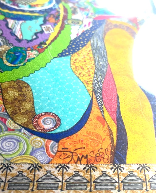Notecard with baby on mother's back. Art by Kisasi Ramsess, Los Angeles black artist. Custom framing at Serengeti Gallery.