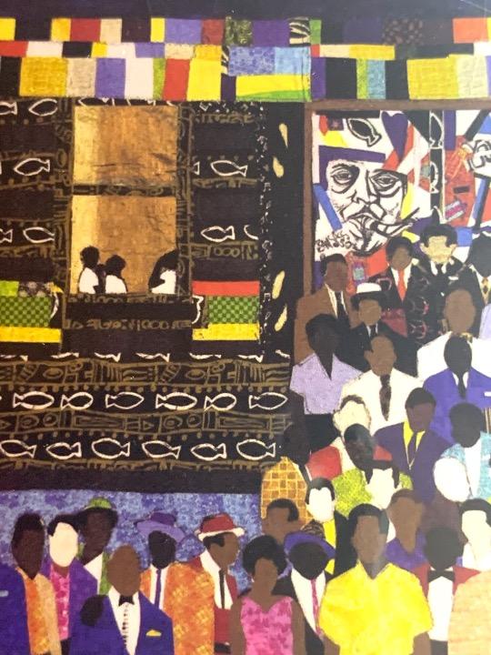 Harlem Renaissance notecard with art and bio on the back. Art by Kisasi Ramsess, Los Angeles black artist. Custom framing at Serengeti Gallery.