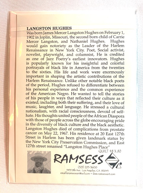 Langston Hughes notecard with art and bio on the back. Art by Kisasi Ramsess, Los Angeles black artist. Custom framing at Serengeti Gallery.
