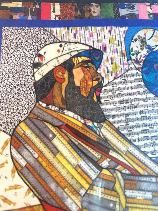 Thelonious Monk notecard with art and bio on the back. Art by Kisasi Ramsess, Los Angeles black artist. Custom framing at Serengeti Gallery.